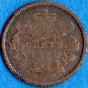 CANADA 1872 H 5 CENTS FIVE CENT SMALL SILVER COIN   AG
