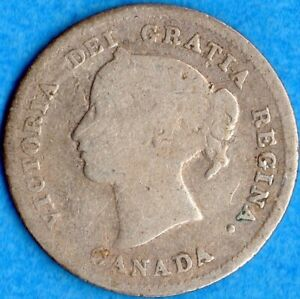 CANADA 1874 H PLAIN 4 5 CENTS FIVE CENT SMALL SILVER COIN   G/VG