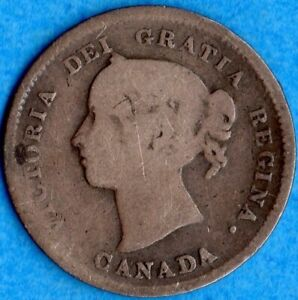CANADA 1885 SMALL 5 5 CENTS FIVE CENT SMALL SILVER COIN   GOOD