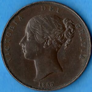 GREAT BRITAIN 1855 PLAIN ONE PENNY 1D OLD COPPER COIN   QUEEN VICTORIA   EF
