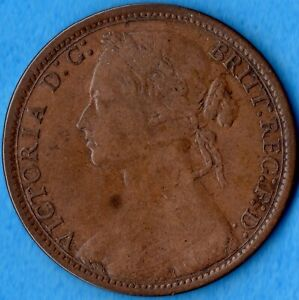 GREAT BRITAIN 1874 ONE PENNY 1D OLD COPPER COIN   QUEEN VICTORIA   FINE
