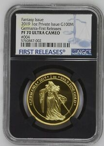 Click now to see the BUY IT NOW Price! GOLD GERMANIA PROOF  2019 5 MARK 1 OZ PURE GOLD ROUND NGC PF70UC FIRST RELEASES
