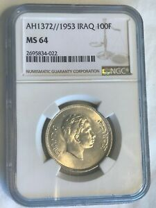 Click now to see the BUY IT NOW Price! IRAQ 100 FILS OF KING FAISAL 2ND DATED 1953 IN NGC CAPSULAR MS 64. COIN