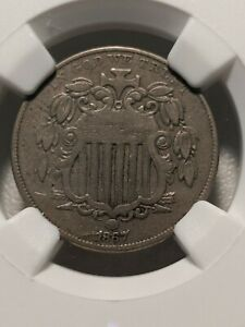 1867 RAYS SHIELD NICKEL. NGC VF35. STRONG MID GRADE COIN. FREE S&H
