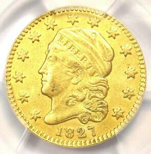 1827 CAPPED BUST GOLD QUARTER EAGLE $2.50 COIN   PCGS XF DETAILS    DATE