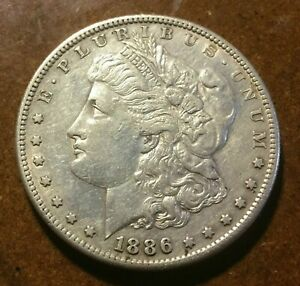 1886 S MORGAN SILVER DOLLAR LOW MINTAGE AU ABOUT UNCIRCULATED