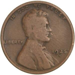 1925 D LINCOLN WHEAT CENT GOOD PENNY VG