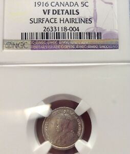 1916 5C CANADA 5 CENTS NGC VF DETAILS