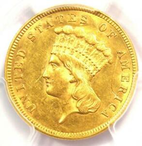 1860 THREE DOLLAR INDIAN GOLD COIN $3   PCGS UNCIRCULATED DETAIL  UNC MS