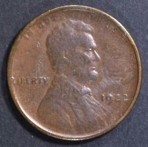 1922 NO D STRONG REVERSE LINCOLN CENT CH AU