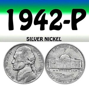 1942 P JEFFERSON USED SILVER NICKEL   USED   SILVER