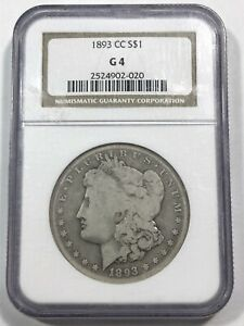 1893 CC G4 NGC MORGAN SILVER DOLLAR GOOD 4 G