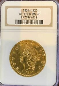 Click now to see the BUY IT NOW Price! 1854 $20 KELLOGG MS61 NGC  PA957494012