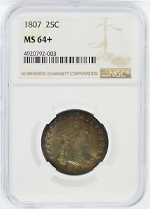 Click now to see the BUY IT NOW Price! 1807 DRAPED BUST SILVER QUARTER NGC MS64  CERTIFIED 25C COIN   JD581