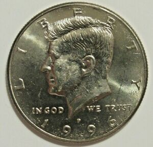 ERROR   1996 P KENNEDY HALF  DOLLAR   HEAVY GREASE STRIKE THRU OVER WING
