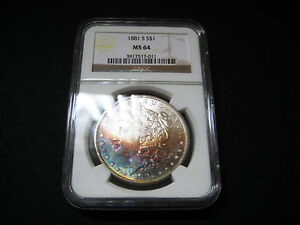 1881 S MORGAN SILVER DOLLAR UNC BU COIN   RIANBOW COLORFUL TONING NGC MS 64