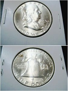 1959 FRANKLIN HALF DOLLAR CHOICE UNC GEM BU COIN