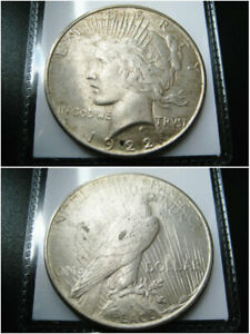 1922 P PEACE SILVER DOLLAR CHOICE UNC COIN  NICE ORIGINAL TONED