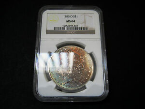 1885 O MORGAN SILVER DOLLAR UNC BU COIN   RIANBOW COLORFUL TONING NGC MS 64