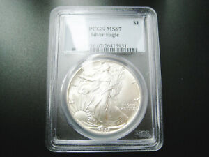 1988   BETTER DATE  AMERICAN SILVER EAGLE CHOICE UNC GEM BU COIN   PCGS MS 67