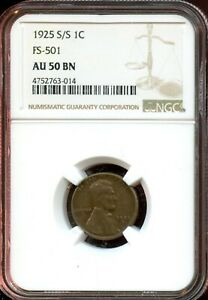 1925 S/S 1C FS 501 NGC AU 50 BN ABOUT UNC 50 BROWN  LINCOLN WHEAT CENT TA791