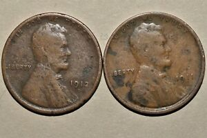 1912 D 1911 LINCOLN WHEAT CENT PENNIES