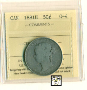 ICCS CANADA 1881H   50CENTS COIN ; G 6 ; CERT. NO.  XPD 754 ; LHM