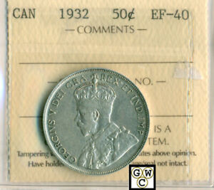 Click now to see the BUY IT NOW Price! ICCS CANADA 1932  50CENTS COIN ; EF 40 ; CERTIFICATION NO  PJ 809 ; LHM