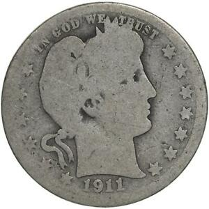 1911 BARBER QUARTER 90  SILVER ABOUT GOOD AG