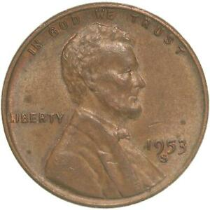 1953 S LINCOLN WHEAT CENT ABOUT UNCIRCULATED PENNY AU