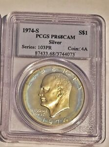 1974 S EISENHOWER IKE DOLLAR PCGS PR68 CAMEO PROOF RAINBOW TONED