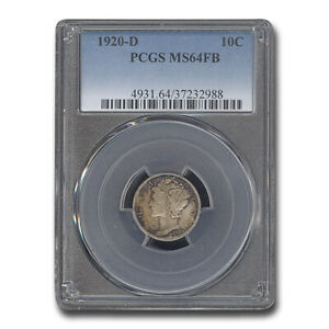 Click now to see the BUY IT NOW Price! 1920 D MERCURY DIME MS 64 PCGS  FB    SKU181966