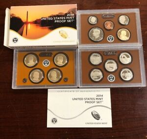 2014 S UNITED STATES MINT CLAD PROOF SET 14 COINS WITH BOX & COA