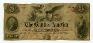 1852 $3 THE BANK OF AMERICA   GEORGETOWN D.C. NOTE