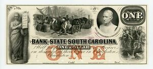 1800'S $1 THE BANK OF THE STATE OF SOUTH CAROLINA  PROOF  NOTE UNC
