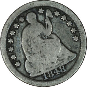 1848 O SEATED LIBERTY HALF DIME VG CONDITION EF2