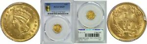 1861 $1 GOLD COIN PCGS MS 65