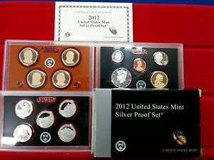 2012 S SILVER UNITED STATES MINT PROOF SET 14 COINS  W/ COA & BOX