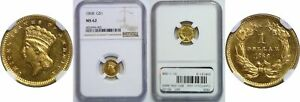 1868 $1 GOLD COIN NGC MS 62