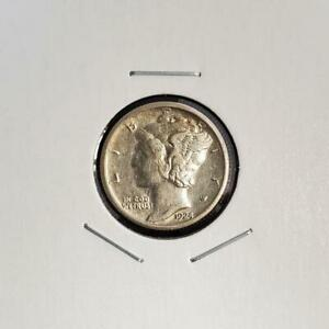 1924 S MERCURY DIME   ABOUT UNCIRCULATED /AU   BETTER DATE
