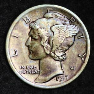 1917 MERCURY DIME CHOICE AU  E246 KE