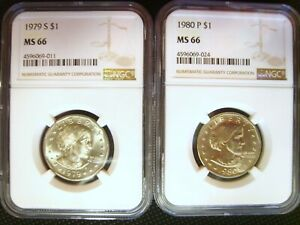 1979 S & 1980 P SUSAN B ANTHONY SBA DOLLARS  2 COINS  GRADED NGC MS 66 $55 VAL