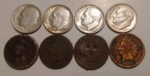 UGLY CULL DAMAGED 1860? 1880 1886 1894 INDIAN HEAD ONE CENT PENNY   SILVER DIMES