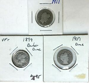 1899 VF    LUSTER   1907 1911 BARBER DIMES  NICE COINS 10 CENT SILVER