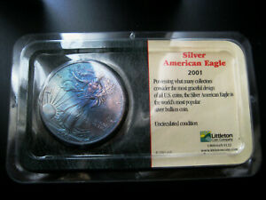2001 AMERICAN SILVER EAGLE CHOICE UNC BU COIN     COLORFUL TONING