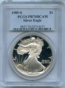 1989 S PROOF SILVER EAGLE PCGS PR70 DCAM $1 COIN SAN FRANCISCO   JD775