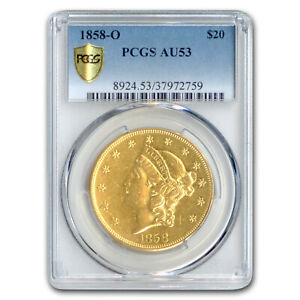 Click now to see the BUY IT NOW Price! 1858 O $20 LIBERTY GOLD DOUBLE EAGLE AU 53 PCGS   SKU207047