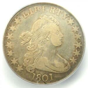 1801 DRAPED BUST HALF DOLLAR 50C COIN   CERTIFIED ICG VF30   $4 120 VALUE