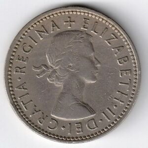 ELIZABETH II  1 SHILLING COIN. 1961. ENGLISH CREST.