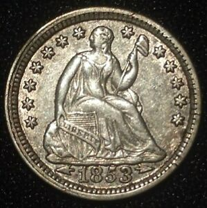 1853 SEATED LIBERTY HALF DIME WITH ARROWS AT DATE USA H10C 5C SILVER NICKEL